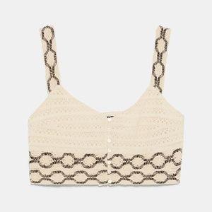 Zara Crochet Cropped Top Size S
